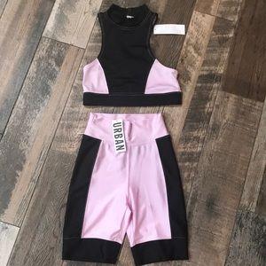 UO crop top and bike shorts bundle